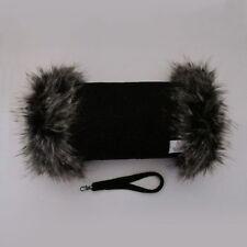 Harris Tweed Jet Black Hand Muff Warmer with Premium Taupe Fur Trim UK Handmade