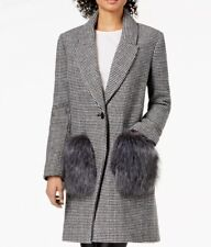 d7f90a67fea Kendal and Kylie Faux Fur Pockets Houndstooth Coat Size Large