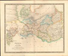 1843 ANTIQUE MAP- DOWER - PRUSSIA WITH PART OF POLAND