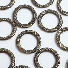 10pcs Carved Round Connector Rings Antique Bronze 14mm - B0083542