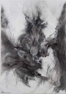 James GLEESON Drawing no 187 -Original Drawing, Surreal Collage, Framed + Signed