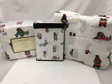 7pc Cynthia Rowley QUEEN Sheet (4) Pillowcase THROW Set Christmas Dachshund Dogs