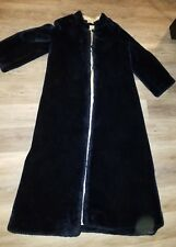 vintage hand sewn deep navy blue faux fur fully lined long maxi coat