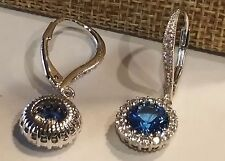 925 SILVER 1.25 CARAT 7MM BLUE & CLEAR CZ SOLITAIRE HALO LEVERBACK EARRINGS