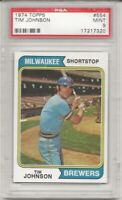 SET BREAK - 1974 TOPPS # 554 TIM JOHNSON, PSA 9 MINT,RC, MILWAUKEE BREWERS, L@@K
