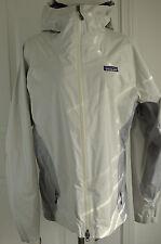 Patagonia Women's Jacket Hooded H2no Grey Beige Nylon Rain Wear Windbreaker Sz L