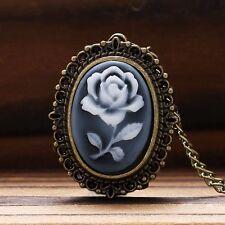 Exquisite Mini Rose Pattern Lady Quartz Pocket Watch Necklace Chain Xmas Gift