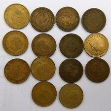 14 monedas. España. una peseta española Franco Carlos 1953, 1963, 1966, 1975