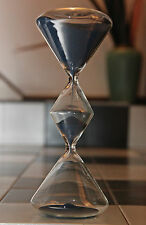 NEW LARGE RARE SHAPE SUMMER NIGHT BLUE SAND HOURGLASS TIMER SMOOTH GLASS. 45 min