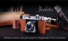 Brofeta leather case/bag and strap for Voigtlander VITO III old film camera