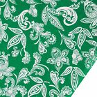 """Green 41"""" wd Cotton Fabric Floral Print Designer Sewing Fabric Dress By 1 Meter"""