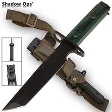 "TANTO m 1/4 9 Blade Bayonet BLACK Handle Combat Knife Sheath Ar 14"" 15"" 16"""