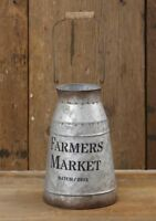 Farmers Market Milk Can Decorative Canister Pitcher Vase Farmhouse Vintage Style