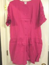 AVON STYLE*GAUZE ROMPER WITH LACE TRIM & POCKETS*HOT PINK*MEDIUM*100% COTTON*NEW