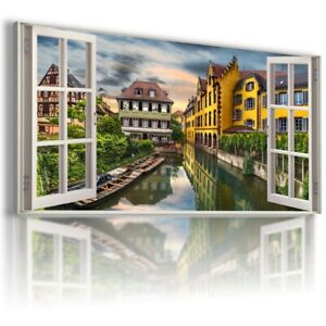 W411 FRANCE 3D Window View Canvas Wall Art Picture Large SIZE UNFRAMED