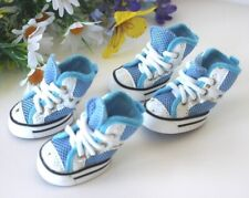 USA SELLER Dog Puppy Boots Sneakers SETof 4 Shoes Blue for Small Dog sz #1 -#5