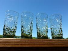 4 Driftwood Seneka Smoky Green Crinkle Glass Tumblers 12 oz Mid Century