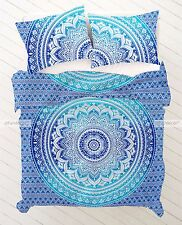 Blue King Size Ombre Mandala Blanket Duvet Doona Quilt Cover With Pillowcases