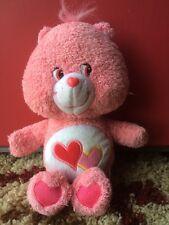 "2004 Care Bears Love A Lot Bear EUC Vintage Pink Hearts 11"""