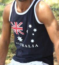 Mens Singlet Top T Shirt Australian Australia Souvenir Cotton Aussie flag gift