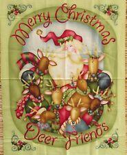 Jingle All The Way Santa Merry Christmas Deer Friend Quilt Panel Nancy Halvorsen