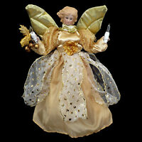 GOLDEN PORCELAIN ANGEL CHRISTMAS TREE TOPPER with LIGHTS / SIZED for SMALL TREES