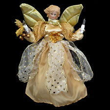 Christmas Tree Topper with Lights / Gold Porcelain Angel / Sized for Small Trees