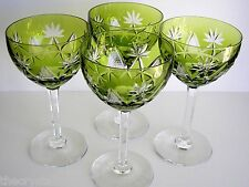 4 VAL ST LAMBERT RESEDA EMERALD CASED CUT TO CLEAR CRYSTAL SAUCER CHAMPAGNES