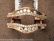 14k Rose Gold Solitaire Enhancer Round Diamonds Ring Guard Wrap Jacket Insert
