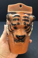 Vintage Orange & Black Ceramic Bengal Tiger Pottery Wall Pocket Match Holder