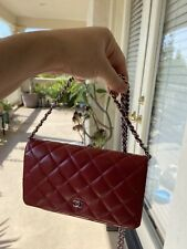 CHANEL Quilted Matelasse Lambskin Wallet On Chain WOC Shoulder Bag /a511