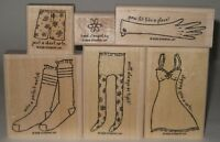 Stampin' Up! Rubber Stamp Partial Set Laundry Notes Socks Slip Boxers Glove