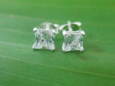 100% REAL925 sterling silver 2 PAIRS (3mm + 4mm)SQUARE CZ studs Earring BOY GIRL