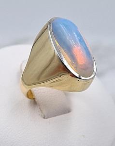 Mondstein-Ring - 750er Gelb-Gold - 1 Mondstein - Ring-Gr: 52