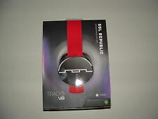 New - Sol Republic Tracks M4DE V8 Headphones Earbuds Detachable Beats Red/Black