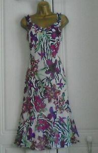 PER UNA LOVELY LINED MULTICOLOURED  FIT & FLARE FLOATY STYLE FLORAL DRESS 14L