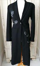 KAREN MILLEN Coat Jacket sz 10 Black Wool Blend Embroidered Long  Evening Party