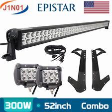 "52"" 300W+18W LED Light Bar+Upper Mounting Bracket 07-17+ Jeep Wrangler JK+Wiring"