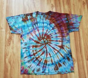 Handmade ice tie dye t shirt 100% cotton trippy spiral blue purple rainbow LARGE