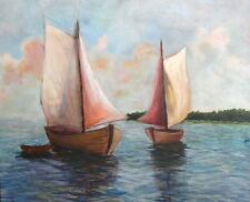Vintage Oil Painting Seascape Sailboats Signed