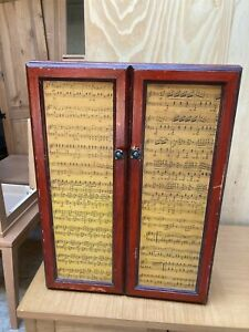 Vintage Small Brown Cupboard 18in/46cm wide x 24in/61cm high Sheet Music Doors