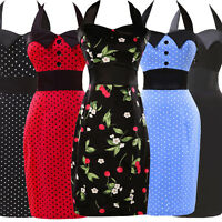 WIGGLE PROM Slim WOMEN Halter VINTAGE 50's STYLE POLKA DOT PENCIL  ZIPPER DRESS