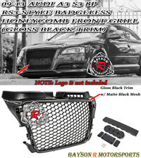 RS3-Style Badgeless Honeycomb Front Grille (Gloss Black) Fit 09-13 Audi A3 S3 8P