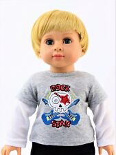 """Rock Star Guitar Long Sleeve T-Shirt Fits American Boy or Girl 18"""" Doll Clothes"""