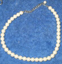 "Vintage 18"" String of Fake White 1/2"" Pearls Metal Hook Clasp for Mother's Day"