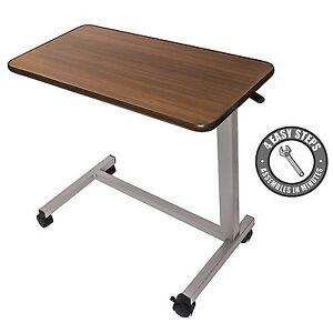 Vaunn Medical Adjustable Overbed Bedside Table with wheels (Hospital / Home Use)