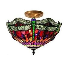 Ceiling Light Fixture Tiffany Style Dragonfly 305C+SF104 Stained Glass NEW