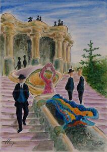 Llop - lito Barcelona modernista Gaudi al Parc Guell, num y firmada