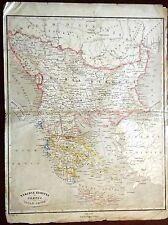 Carta geografica antica GRECIA TURCHIA EUROPEA Pagnoni 1860 Old antique map