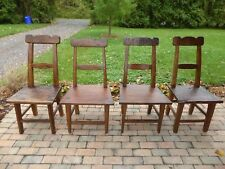 STUNNING RARE OLD 17th/18th C HAND HEWN EARLY PRIMITIVE DINING CHAIR SET OF FOUR